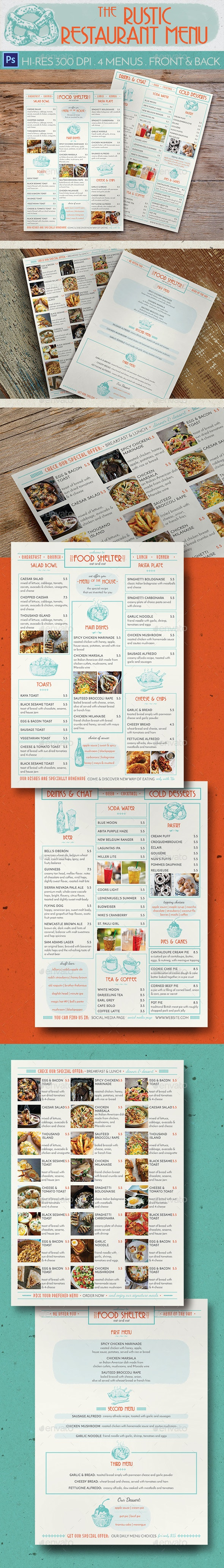 Rustic Restaurant Menu - Food Menus Print Templates