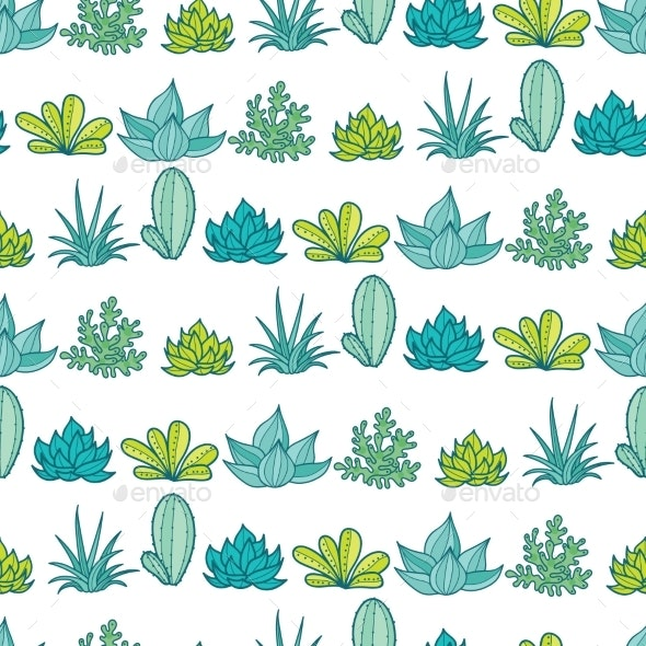 Vector Blue Green Stripes Seamless Repeat Pattern - Flowers & Plants Nature