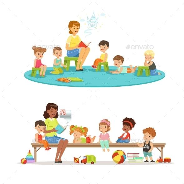 Group of Preschool Kids and Teacher - Miscellaneous Vectors