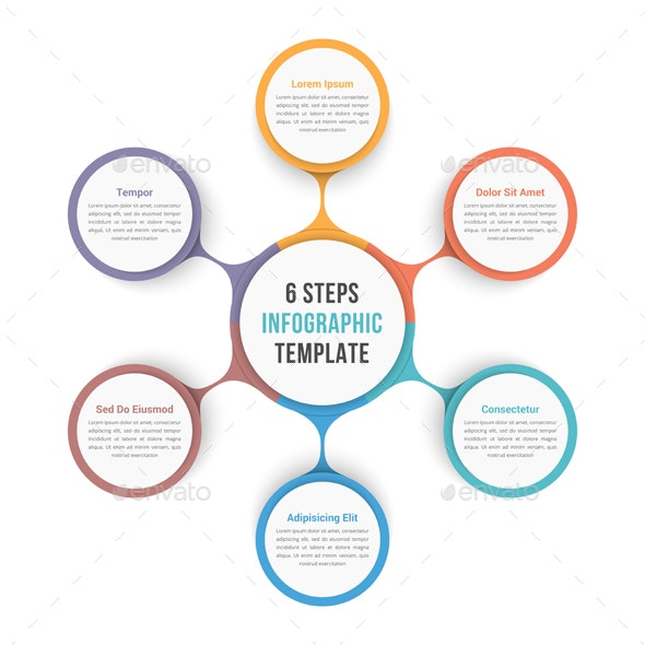 Circle Infographic Template with Six Elements - Infographics
