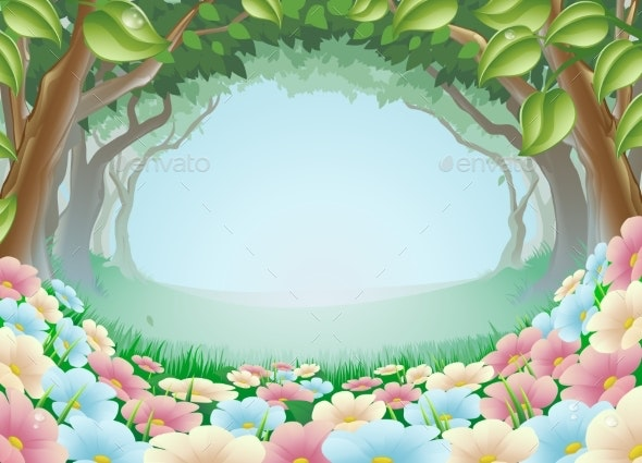 Fantasy Forest Scene Illustration - Landscapes Nature