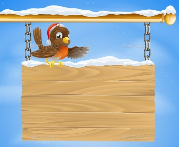 Christmas Sign Robin Bird - Miscellaneous Vectors