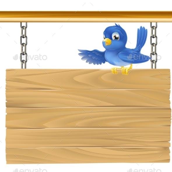 Cute Bluebird Hanging Sign