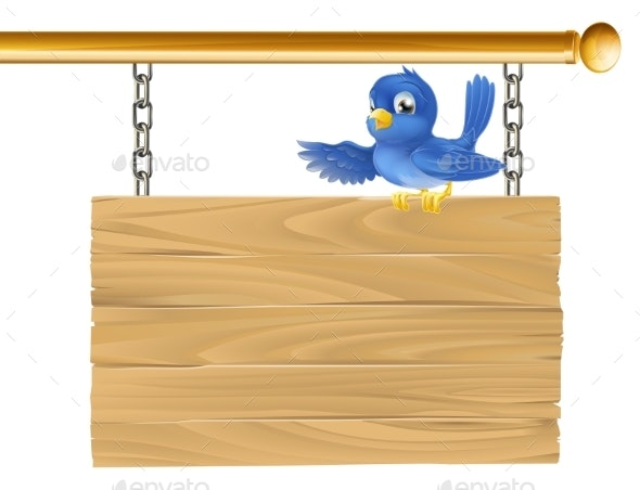 Cute Bluebird Hanging Sign - Miscellaneous Vectors