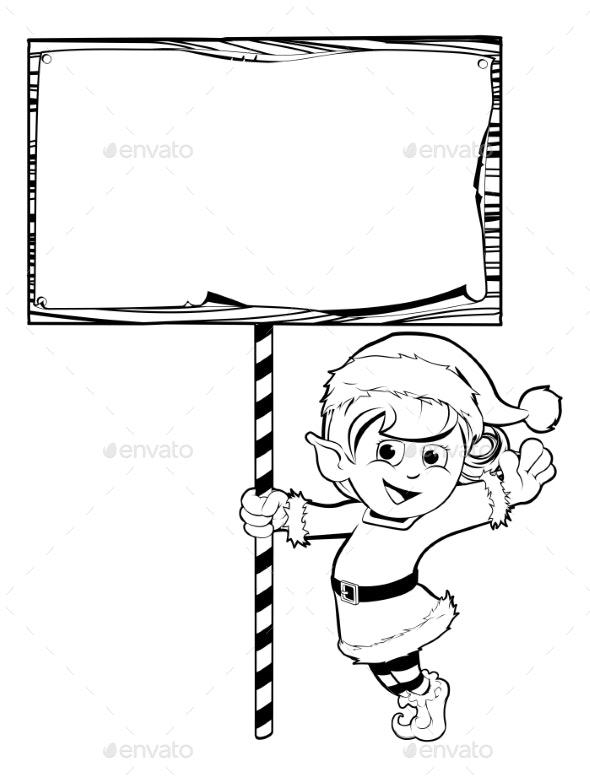 Christmas Elf Holding a Sign - Christmas Seasons/Holidays