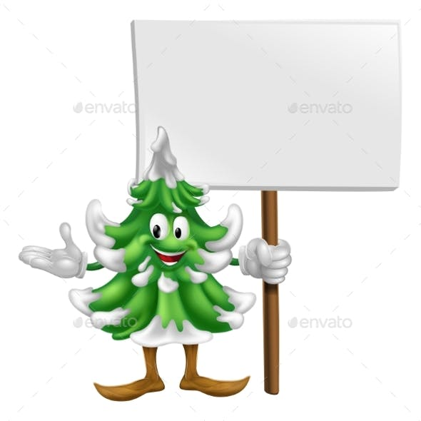 Christmas Tree Mascot with Sign