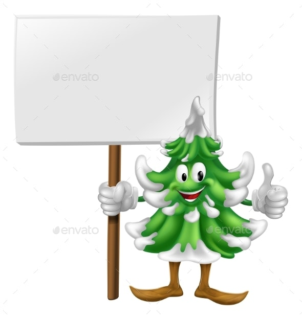 Christmas Tree Character Holding Sign - Miscellaneous Vectors