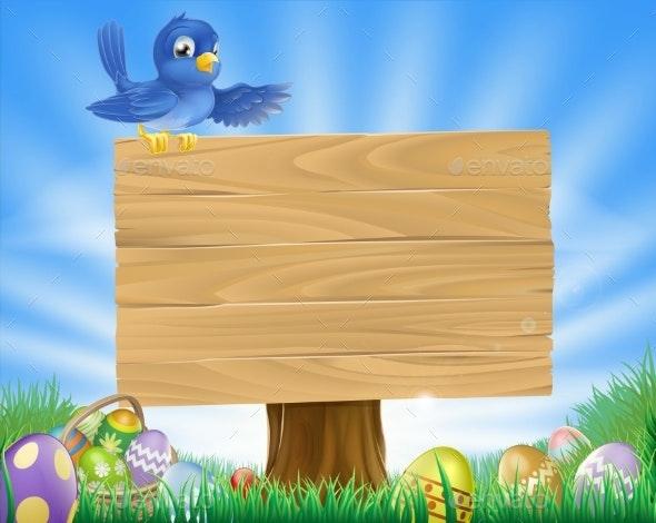 Bluebird Easter Cartoon Background - Animals Characters