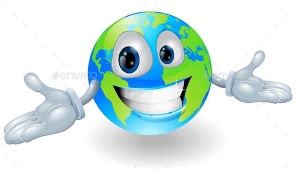 Happy Globe Character - Miscellaneous Vectors