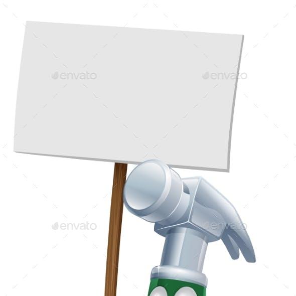 Hammer Mascot Holding Sign