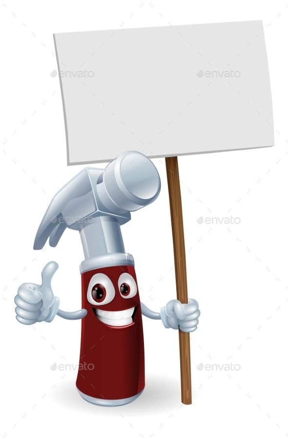 Cartoon Hammer with Board Sign - Miscellaneous Vectors