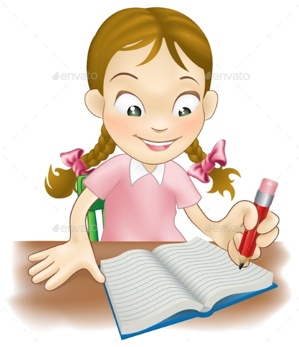Young Girl Writing in a Book - Miscellaneous Vectors