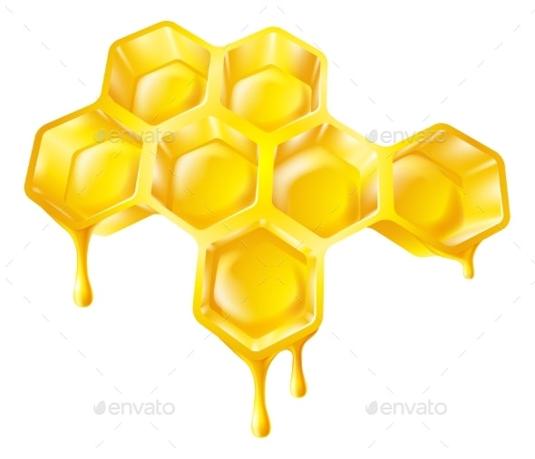 Honeycomb with Dripping Honey - Food Objects