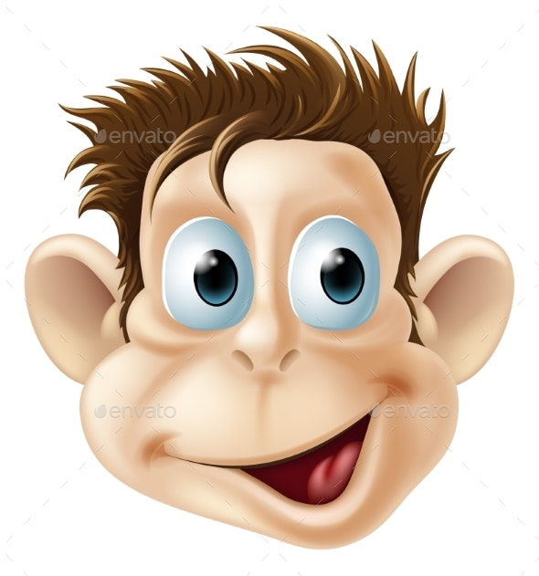 Laughing Monkey Face Cartoon - Animals Characters