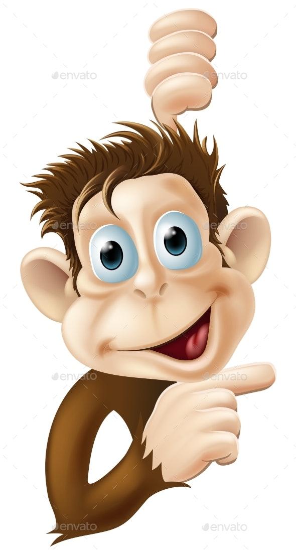 Happy Cartoon Monkey Pointing - Animals Characters