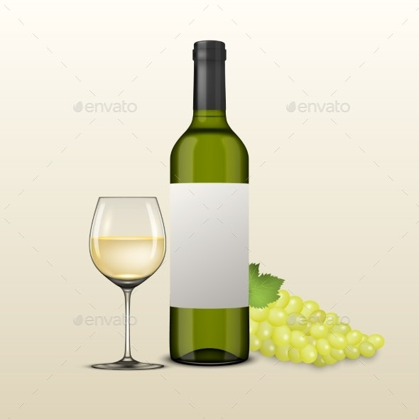 Vector Realistic Grapes Brunch and Wine - Food Objects