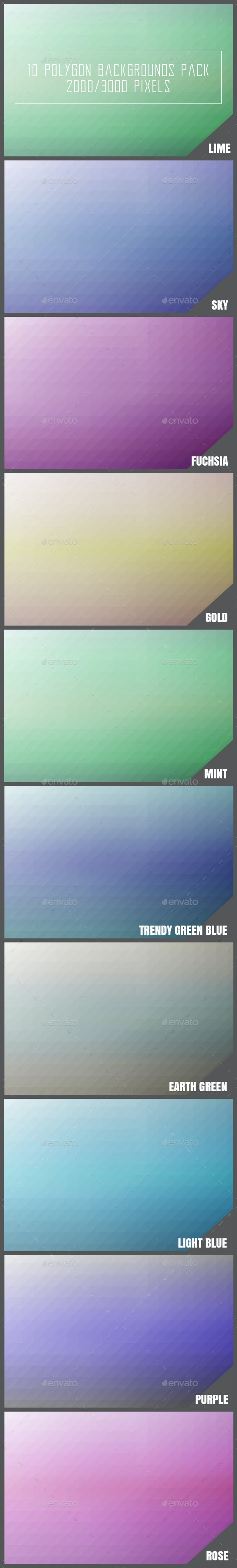 10 Polygon Backgrounds Pack - Backgrounds Graphics
