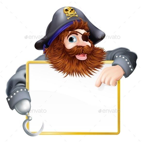 Pirate Pointing at Sign