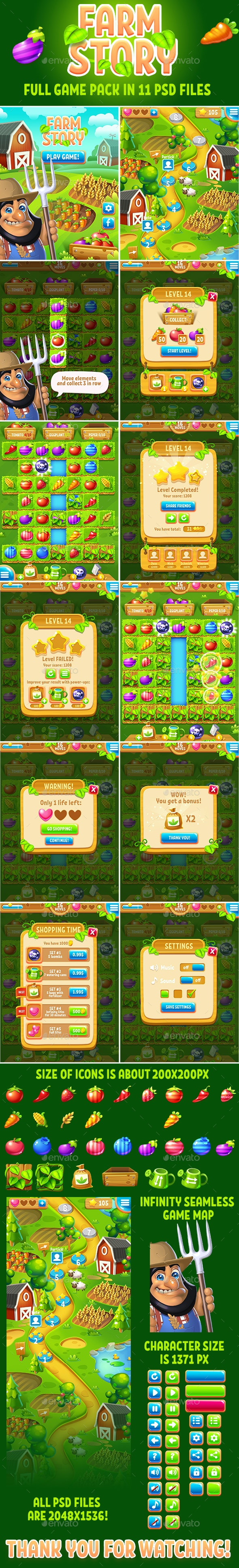 Farm Story Full Game Match-3 Pack with GUI Kit - Game Kits Game Assets