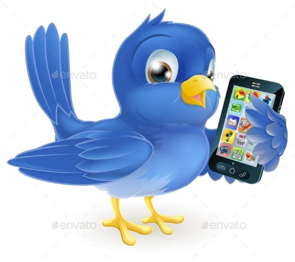 Bluebird with Mobile Phone - Technology Conceptual