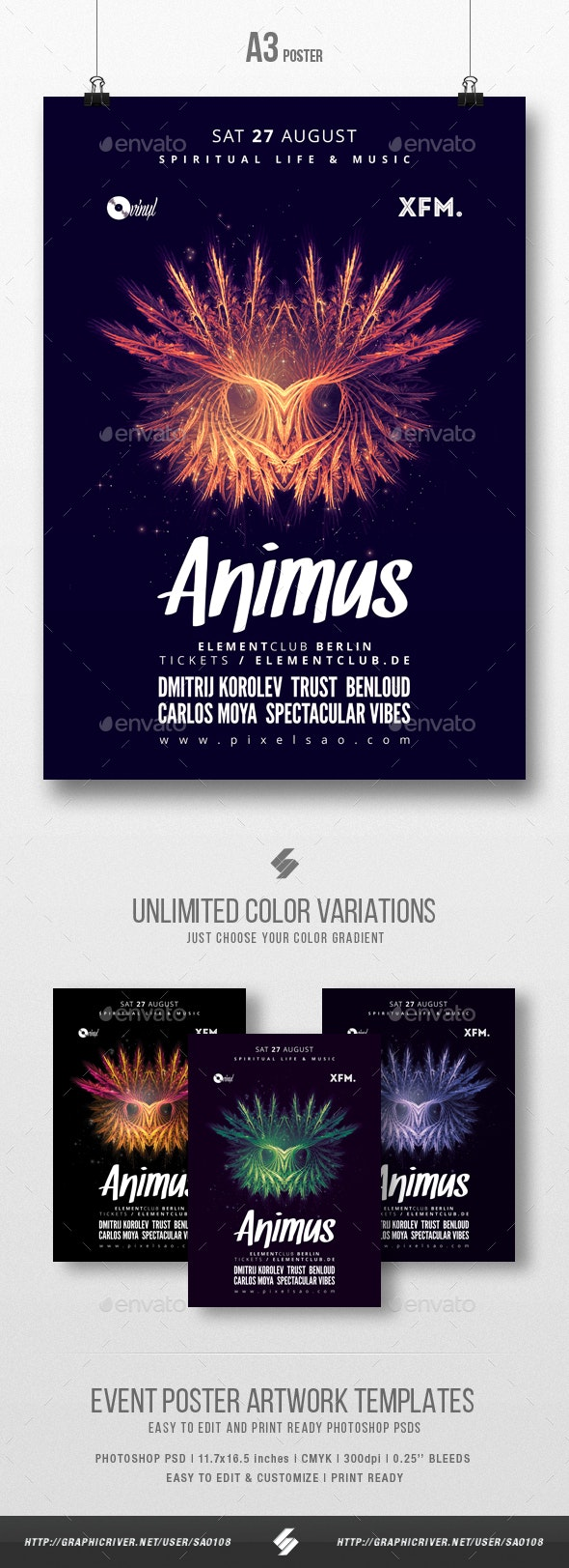 Animus - Progressive Party Flyer / Poster Template A3 - Clubs & Parties Events