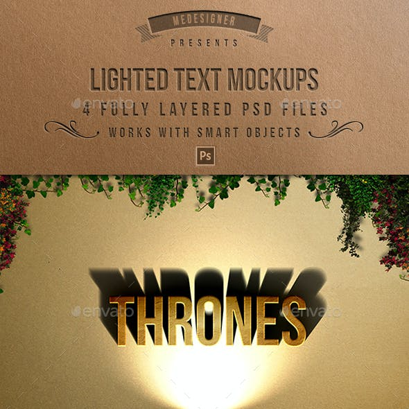 3D Lighted Text Mockups