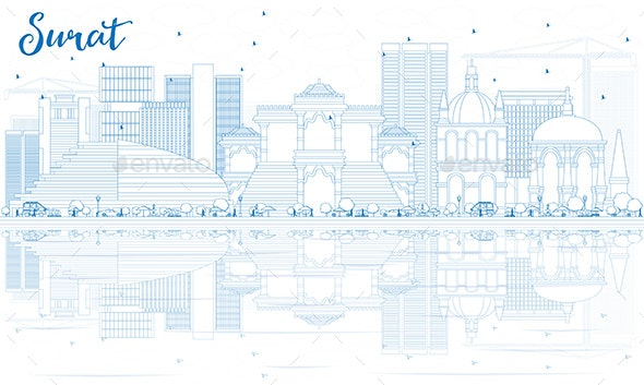 Outline Surat Skyline with Blue Buildings and Reflections. - Buildings Objects