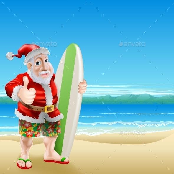 Santa on the Beach - Seasons/Holidays Conceptual
