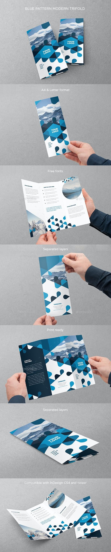 Blue Pattern Modern Trifold - Brochures Print Templates