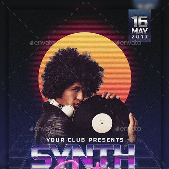 Synth Party Flyer PSD Template