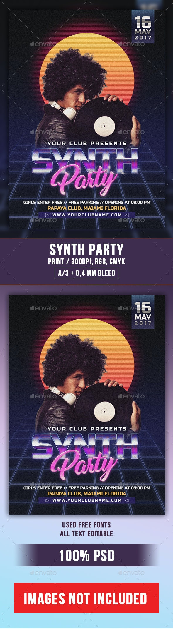 Synth Party Flyer PSD Template - Clubs & Parties Events