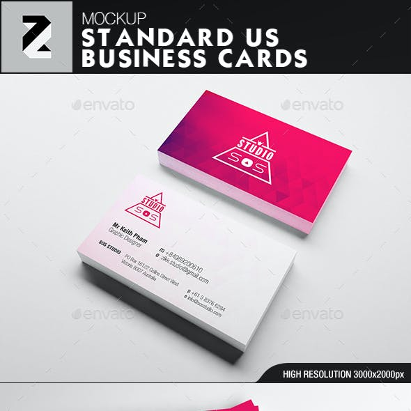 Standard US Business Card Mockup