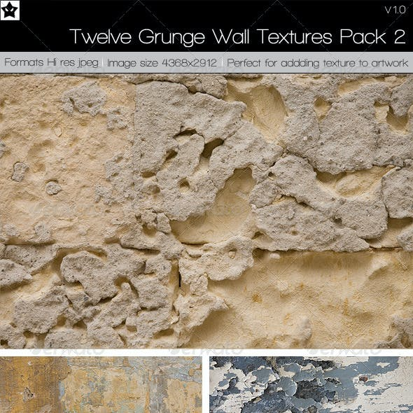 12 Grunge Wall Textures Pack 2