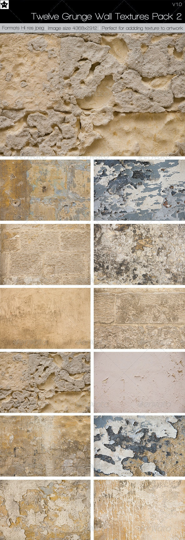 12 Grunge Wall Textures Pack 2 - Stone Textures