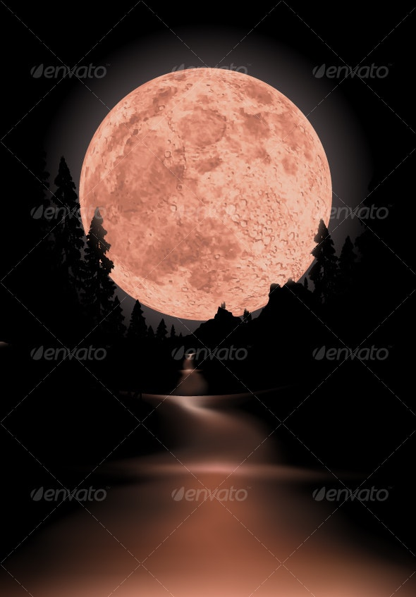 way to red fullmoon - Backgrounds Decorative