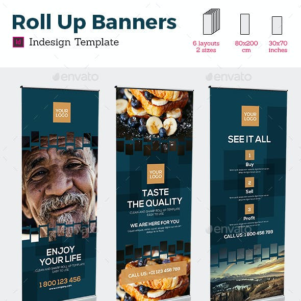 Rollup Stand Banner Display Digital Dark 12x Indesign Template