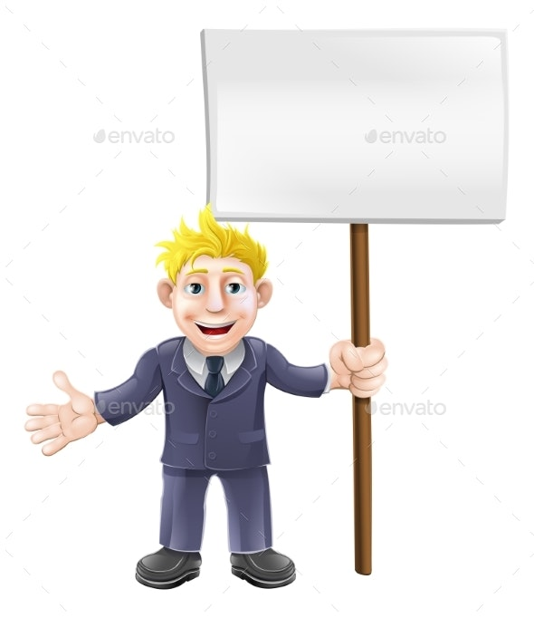 Cartoon Suit Man Holding Sign - People Characters
