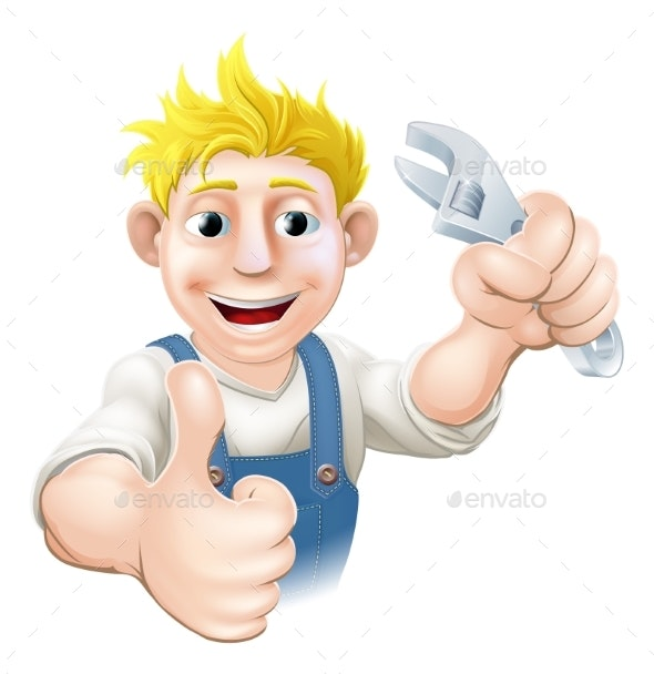 Cartoon Mechanic or Plumber - People Characters