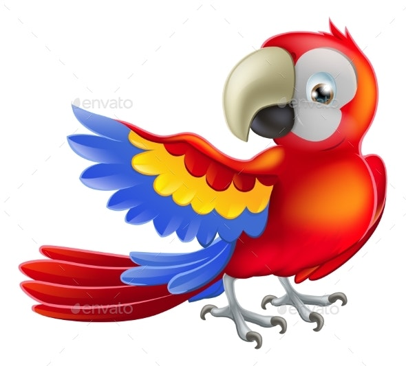 Red Macaw Parrot Illustration - Animals Characters