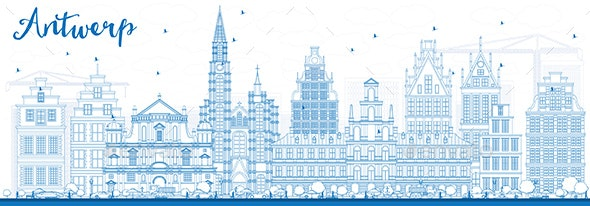 Outline Antwerp Skyline with Blue Buildings - Buildings Objects