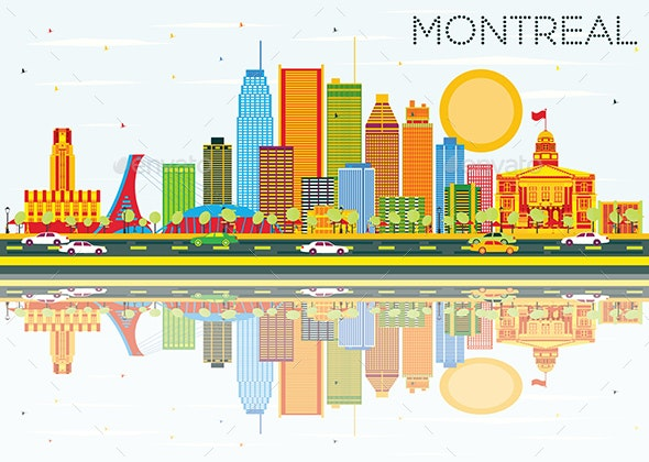 Montreal Skyline with Color Buildings, Blue Sky and Reflections - Buildings Objects