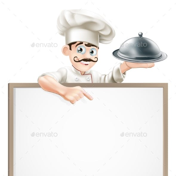 Chef Pointing at Sign