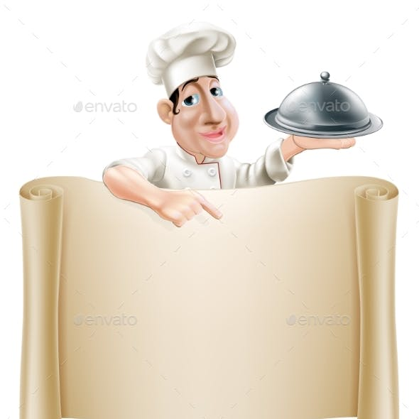 Cartoon Chef Pointing at Menu