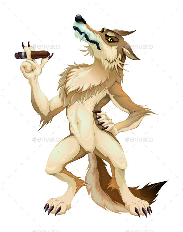 Big Bad Wolf with Cigar. - Animals Characters
