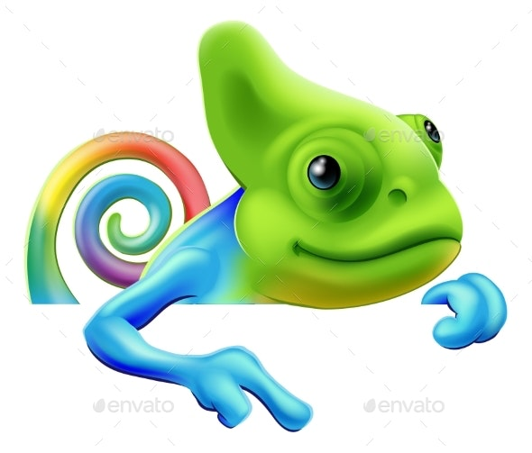 Rainbow Chameleon Pointing Down - Animals Characters