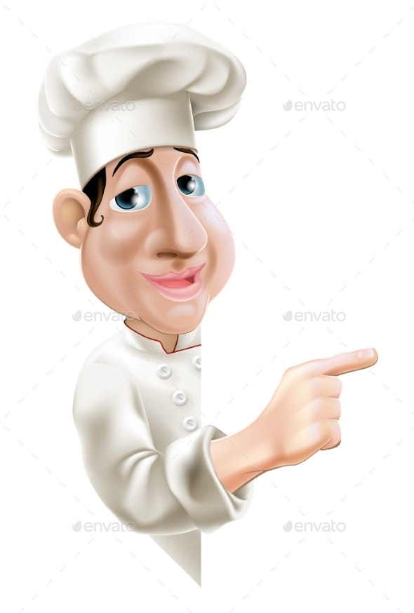 Side Pointing Chef - People Characters