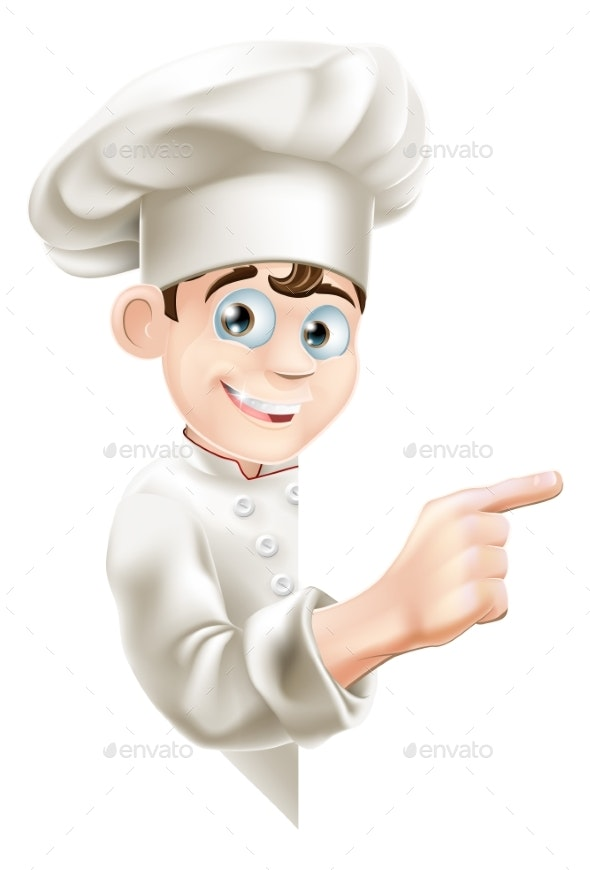 Cartoon Chef Pointing at Sign - Miscellaneous Vectors