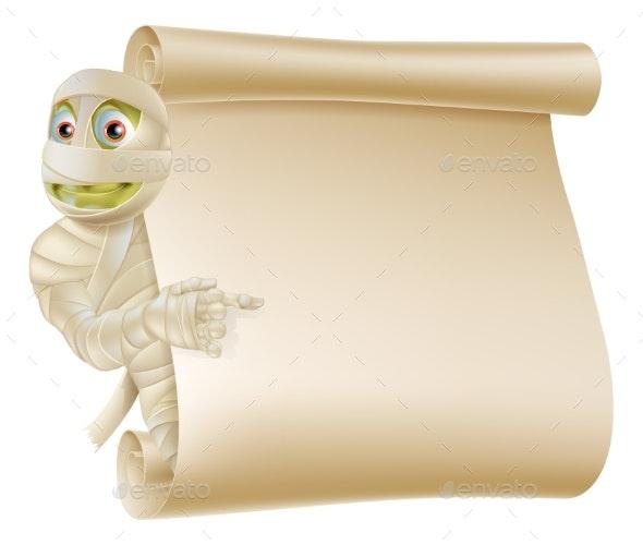 Mummy Halloween Monster Scroll Sign - Backgrounds Decorative
