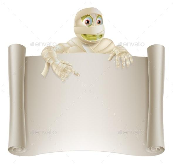Mummy Halloween Banner Scroll - Backgrounds Decorative