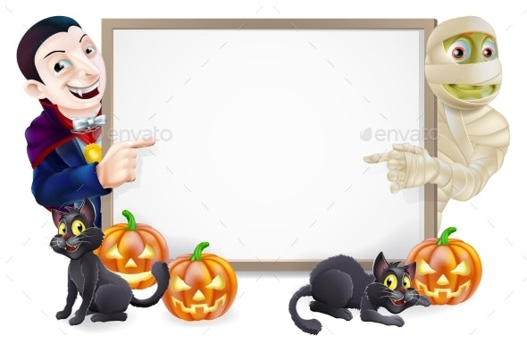 Halloween Sign with Mummy and Dracula - Backgrounds Decorative